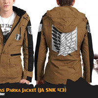 Jual Jaket Anime Attack On Titan Parka Canvas Jacket Hoodie (JA SNK 43) Murah