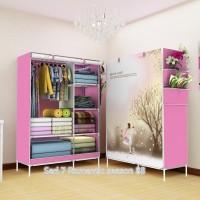 07 Romantic season Multifunction Wardrobe with cover lemari pakaian