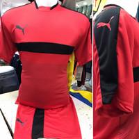 Setelan Jersey Bola Futsal Lokal Polosan Puma List Merah