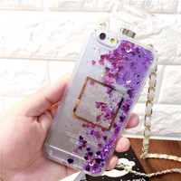 "Iphone J7 (4,7"") Luxury Coco Chanel Perfume Bottle Water Glitter case"