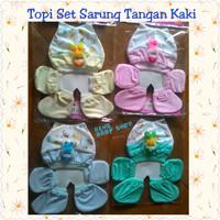 Topi set sarung tangan kaki bayi newborn halus murah
