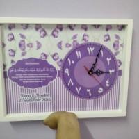 hiasan jam dinding doa pernikahan custom shabby chic ungu