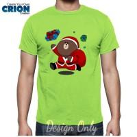 "Kaos Unisex Tema Natal Karakter Line "" Brown "" Christmas Santa Clause"