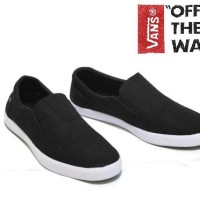 Sepatu Slip On Kanvas Vans Casual Simpli Full Black Baru | Sepatu