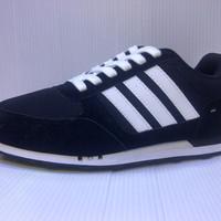 Sepatu Casual Adidas Neo Racer Warna Hitam List Putih u/ pria wanita u