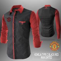 Kemeja Casual Manchester United / Mu Black Red u/ pria wanita casual s