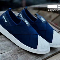 Sepatu Adidas Super Star Slop Slip On Biru Navy Women Wanita Sekolah K