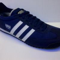 Sepatu Casual Adidas Dragon Warna Biru Navy List Putih u/ pria wanita