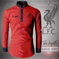 Promo!!! Baju Kemeja Koko Collar Liverpool Red | Jaket Distro Bandung