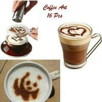Jual Cetakan Kopi Cappucino 16 pcs / Coffee Art Cappucino 1 set 16 pcs Murah