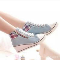 Jual GROSIR WEDGES BOOTS ZIPPER GRAY   Sepatu Wanita   Sepatu Boots Gray Murah