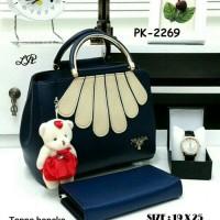 Tas Paket 3 in 1,tas wanita murah,handbag,Jam Tangan,Dompet,biru