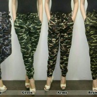 Jual celana joger jogger pants bahan stretch loreng army cewe wanita Murah