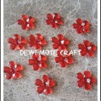 Manik Akrilik Glass Bunga Merah isi 12 pcs Bahan Aksesoris