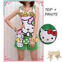 TSB1395-Green , setelan hello kitty atasan dan celana pendek
