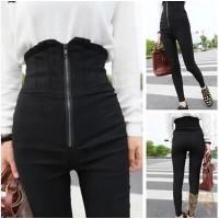 TSP1273-Black, long pants celana panjang hitam import unik stretch