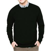 VM Sweater oblong rajut polos panjang - long knitt O neck Hitam