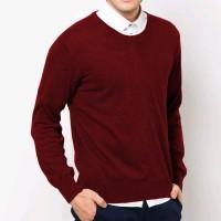 VM Sweater oblong rajut polos panjang - long knitt O neck maroon