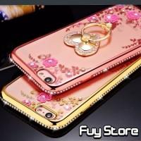 Casing Bunga Diamond Lenovo K5 Plus K5+ Jelly Case Flowers Ring Stand