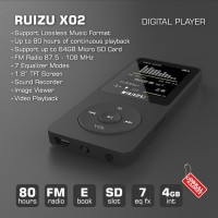 RUIZU X02 Digital Audio MP3 MP4 Video Player High Quality (GA)