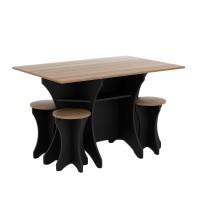 Set Meja Makan - Black [1 dining table + 4 stool]