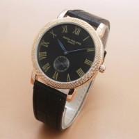 Jam Tangan Pria / Cowok Luxury Patek Phillipe Leather Bla High Quality