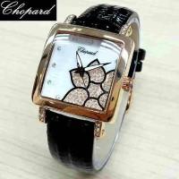 Jam Tangan Wanita / Cewek Chopard Flower Leather Black Jam Tangan