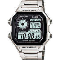 Jam Tangan Pria Casio Digital AE-1200WHD World Time 10 Years Battery