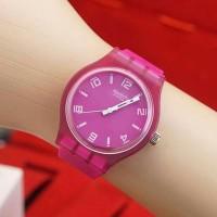 Jam Tangan Pria / Wanita Swatch SK82 Rubber Purple / Ungu Jam Tanagan