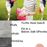 Harga turtle neck salur tshirt kaos turtleneck kaos polos wanita | antitipu.com