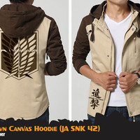 Jaket Anime Attack on Titan Brown Hoodie Jaket SNK Jaket AoT