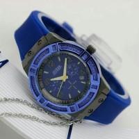 Jam Tangan Wanita / Cewek Guess Ladies Date Rubber Blue 08725