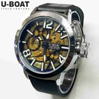 Jam Tangan Pria U-Boat Skeleton UB1 Rubber Black Silver 08725