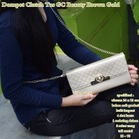 gucci clutch dompet tas beauty brown gold
