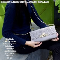 gucci clutch dompet tas beauty abu-abu