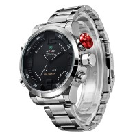 TREND!! WEIDE WH 2309 Ori Dual Time Led Stainless Steel Berkualitas