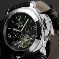 ESS Luxury Men Leather Strap Automatic Mechanical Watch - WM343 - Bl