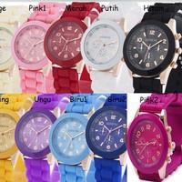 Jam Tangan Silicone Jelly Quartz Wrist Watch Silikon Jely Geneva Rubbe