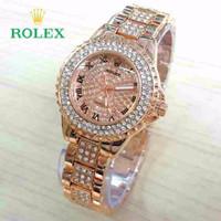 Hot Item Jam Tangan Wanita / Cewek Rolex Romawi Diamond Rosegold