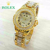 Hot Item Jam Tangan Wanita / Cewek Rolex Romawi Diamond Gold