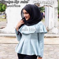 Hamiya top mint / atasan baju peplum / grosir toko online murah wanita