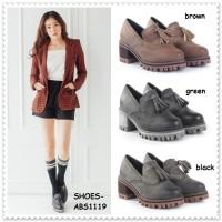 Sepatu Sekolah Jepang Kulit Pantofel Heels Boots Wanita Korea Import