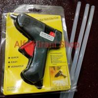 Jual PAKET alat lem tembak + gratis lilin 3 buah (Glue Gun & Glue Stick) Murah