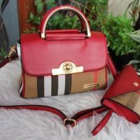 Tas fashion wanita import / merk burberry set dompet