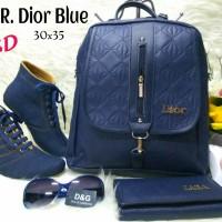Tas Paket Sepatu 5in1 / Tas Wedges Boot Sandal 5 in 1 Ransel Dior Blue