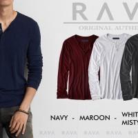 Jual Baju Kaos Pria Henley Lengan Panjang Misty by RAVA (BEST SELLER) Murah