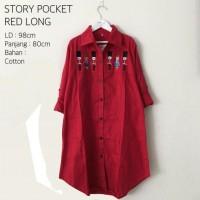 Atasan Wanita / Baju Muslim / Blouse Tunic Kemeja / Story Pocket Red