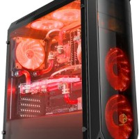 CUBE GAMING AURUS BLACK - Full Acrylic Window - 12CM Red 32Led Fan