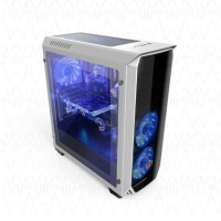 CUBE GAMING AURUS WHITE - Full Acrylic Window - 12CM Red 32Led Fan
