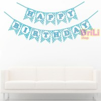 Bunting Flag HBD Biru Polkadot | Banner Flag Happy Birthday Biru